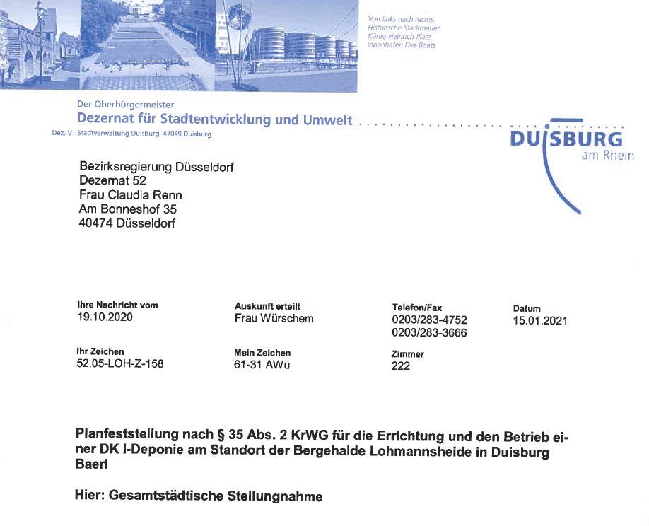 Stellungnahme der Stadt Duisburg zur Bergehalde Lohmannsheide